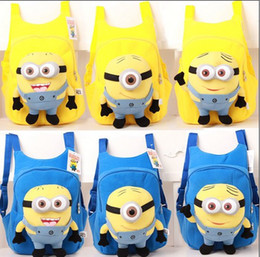 Wholesale Despicable Backpack School - fashion cute despicable me toddler baby boys girls backpack children pp plush minions toy school bag kids backpacks good quality QZ359