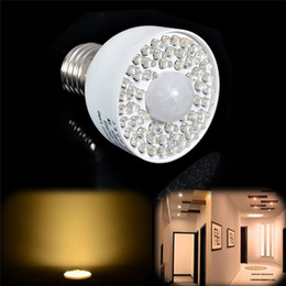 Wholesale Pir Sensor Led Lights - New LED Motion Sensor Light Bulb 3W 54LED E27 PIR Infrared IR Motion Sensor White Warm White Light Bulb 340LM Motion Sensor Light Bulb