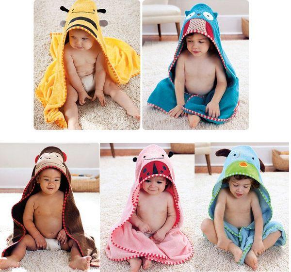 Wholesale-Baby Bath Robe baby cartoon Bath Robe Baby Bathroom Towels Kids Bath Towels Beach Cotton Towels 5p/l