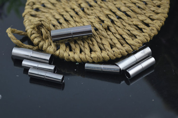 Nickle Free Gun metal Black Strong Magnetic Tube Clasps Jewelry Findings fit Leather Cord Necklace Bracelet Making 100 PC per Lot
