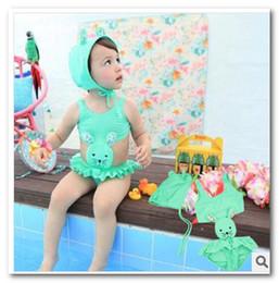 Wholesale Swim Cap Baby - Cute Rabbit girls swimsuits baby bikini swimwear Swim Cap+girls swimsuit 2pcs sets swim pool swimsuits in stock 7005