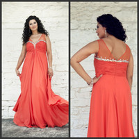Wholesale Dress Big Bust - New Arrival 2016 Tangerine Prom Dresses Big Size Long Chiffon Plunge V Neck Zipper Back Sheer Straps Beaded Bust Angela and Alison 21008W