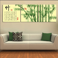 Oil Painting paint articles - 3 Panel Modern Painting Home Decorative Art Picture Paint on Canvas Prints Emerald beautiful bamboo and bamboo on the article