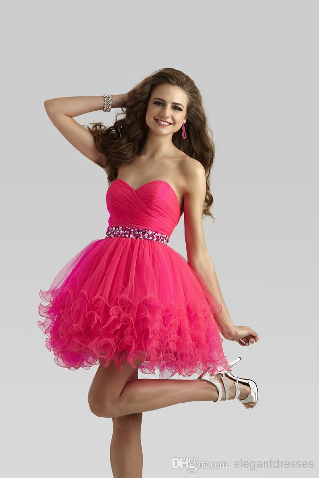 2016 Nuovo abito da ballo in rilievo Organza con perline Hot Pink Prom Dresses Abiti da sera Prom Girl Dress