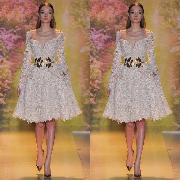 Zuhair Murad Vestidos de noche de encaje Sexy Árabe Dubai Off-Shoulder Manga larga Una línea de vestidos de fiesta hasta la rodilla Vestidos de gala Vestido de fiesta