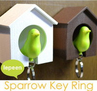 Wholesale Sparrow Key - Hot selling Sparrow Bird House Nest Whistle Key Holder Chain Ring Keychain Holder Boxed