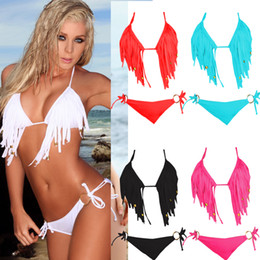 Wholesale Bottom Swimsuit Black - Hot Women's Apart Fringe Swimwear Bikini Halter Padded Push Up Bathing Suit Top & Bottom Swimsuit Bathing Suit Swimming Beachwear T71