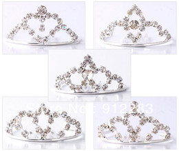 Wholesale Wholesale Rhinestone Hair Combs - Free Shipping Wholesale 50Pcs Lot Fashion Tiaras Silver Plated Rhinestone Metal Hair Combs, Kids Hair Accessories Wedding Bridal Tiara