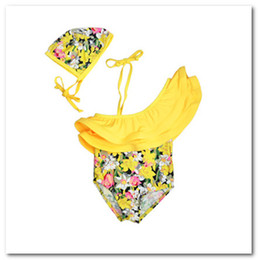 Wholesale Wholesale Bath Suits - New children's swimsuit girls yellow floral Oblique Shoulder Siamese swimwear bath suit spa beachwear 3-7T in stock 7012