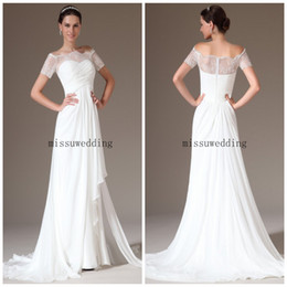 Wholesale Decent Gowns - Decent Free shipping Off the shoulder A line Sweep train chiffon With short sleeves Lace look White Mother of the bride dresses Party gowns