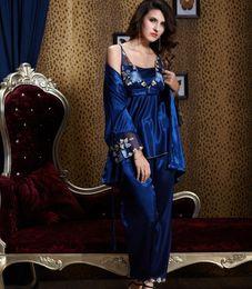 Wholesale Sexy Silk Robe Styles - 2017 new style women 3 pieces Pajama Sets High-grade emulation silk sexy sleepwear 20343