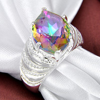 Wholesale Rainbow Crystal Gemstone - New brand fine 925 sterling gemstone Genuine Rainbow Mystic Topaz Ring jewelry free shipping CR0543