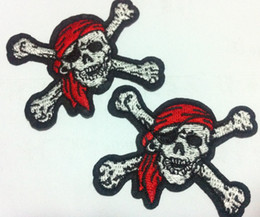 Wholesale Iron Patches Pirates - Wholesales~10 Pieces Pirate Skull (6.5 x 4.5 cm) Cool Patch Embroidered Iron on Applique Patch (P)
