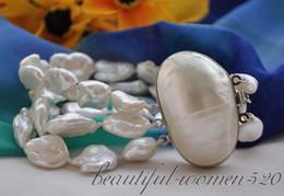 "Wholesale Baroque Pearls Bracelets - 3strands 8"" BAROQUE white KESHI REBORN PEARL bracelet mabe clasp"
