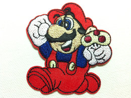 Mario Applique Pas Cher-Wholesalea ~ 10 pièces Cartoon Super Mario Badge (6 x 6,5 cm) Enfants Patch brodé fer sur Applique Patch (ALG)