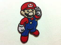 Barato Mario Applique-Wholesales ~ 10 Pieces Classic Game Super Mario Badge (4 x 7 cm) Kids Patch Brodo em patch de aplique (ALG)