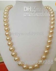 Echte natürliche 9-10mm goldene rosa Perlenkette 20inches 14k Perlenketten