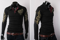 Wholesale Eagle Tattoo Polo - 2014 NEW STYLE Eagle Wings Tattoo Print Long Sleeve T-Shirts Lapel Brand POLO T-shirt