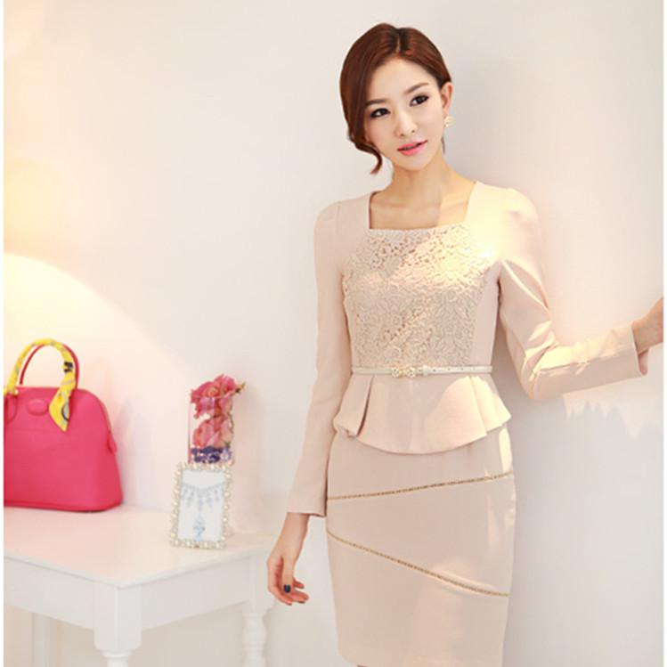 2018 2014 Fashion Womens Office Formal Dress Long Sleeve Square