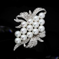 Wholesale Bow Jewlery - Silver Tone WHITE Faux Pearl and Diamante Bow Shaped Jewlery Brooch Pin
