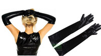 Wholesale Cheap Latex Lingerie - Hot Sexy Rubber Coating Long Gloves Japanned Leather Lingerie Patent Shiny Black Cheap Price Wholesale Free Shipping