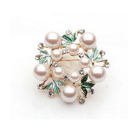 Wholesale Wholesale Leaf Brooches - Gold PLated Cream Pearl Green Leaf Flower Rhinestone Diamante Brooch Pins