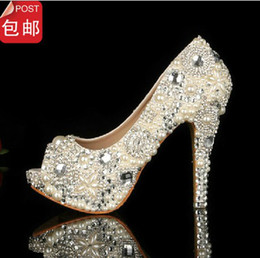 Wholesale White Peep Toe Bridal Shoes - Fashion Fish mouth Pearl Crystal Beaded Wedding Shoes Toe lady's formal shoes Women's High Heels Bridal Evening Prom Party Bridesmaid Shoes