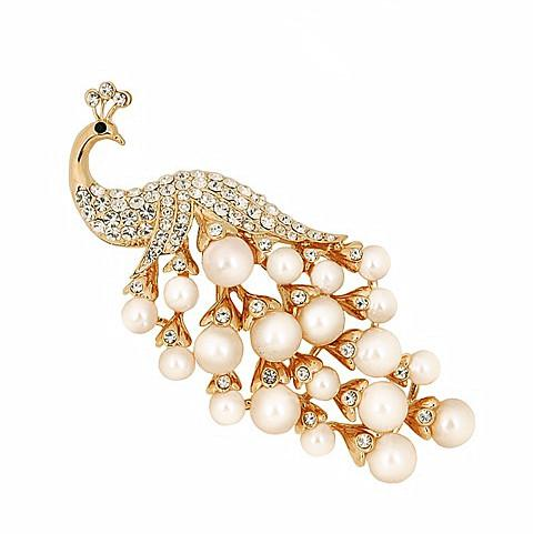 2.5 Inch Elegant Gold Plated Cream Faxu Pearl and Clear Rhinestone Diamante Large Peacock Brooch Pin