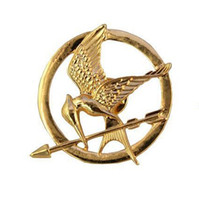 Wholesale Hot Birds - Hot Movie The Hunger Games Mockingjay Pin Gold Plated Bird and Arrow Brooch Gift