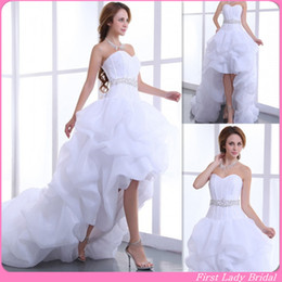 Chinese Sexy Crystal Dress Canada - High Low Wedding Dress 2015 Classic White Organza Sweetheart Corset Ruffles Lace Up Bridal Gowns Garden Bride Dresses For Girls Chinese