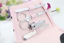 Juegos de manicura favores de fiesta online-100PCS / LOT Pink Polka Dot Purse Manicure Set favor del banquete de boda nupcial ducha favores y regalos