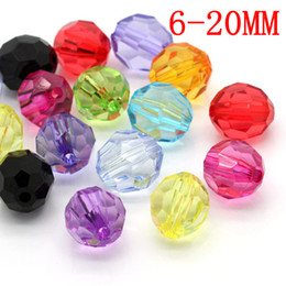 Perles en gros à facettes acryliques Bubblegum Chunky Clear Bicone Beads rondes 6/8/10/12 / 20mmFor Fashion Jewelry Making