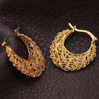 Wholesale Basketball Wives Fashion Jewelry - Newest Trendy Hoop 18K Real Gold Plated Copper Vintage Hoop Earrings For Women Fashion Jewelry Basketball Wives Earrings E360