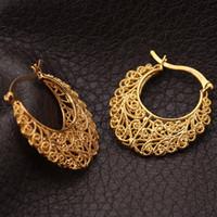 ingrosso orecchini delle mogli di pallacanestro di modo-Il più nuovo anello d'avanguardia placcato oro reale 18K di rame placcato dell'annata orecchini a cerchio per le donne gioielli moda orecchini mogli di pallacanestro orecchini E360