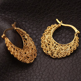 Chinese  Newest Trendy Hoop 18K Real Gold Plated Copper Vintage Hoop Earrings For Women Fashion Jewelry Basketball Wives Earrings E360 manufacturers