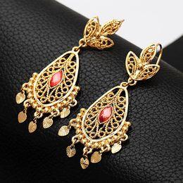Oro indio 18k online-ENVÍO GRATIS Nuevos artículos de joyería india del tamaño grande cuelgan los pendientes para las mujeres 18K oro verdadero plateó los pendientes de gota de la manera E3029
