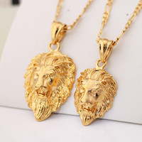 Wholesale Silver Lion Pendants - Men Jewelry Cool Lion Pendant Gift New Trendy 2 Sizes Options 18K Real Gold Plated Exquisite Pendant Fashion Necklace P333