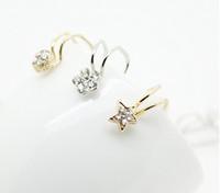 Wholesale Cuff Earrings Mixed - Silver Gold Plated Ear Clip No Ear Pierced Clip Earrings Zircon Flower Design Stud Earrings Cuff Jewelry Unisex Ear Bones Designs Mix