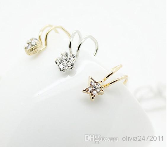فضة مطلية بالذهب الأذن كليب لا الأذن مثقوب أقراط كليب الزركون زهرة تصميم أقراط الكفة مجوهرات للجنسين عظام الأذن تصاميم ميكس