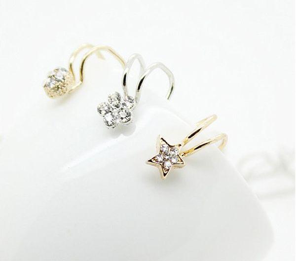 top popular Silver Gold Plated Ear Clip No Ear Pierced Clip Earrings Zircon Flower Design Stud Earrings Cuff Jewelry Unisex Ear Bones Designs Mix 2019