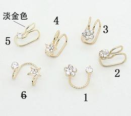 Wholesale Ear Cuff Earring Gold Plated - Hotsale No Ear Pierced Ear Clip Earrings Silver Gold Plated EarClip Zircon Flower Design Stud Earrings Cuff Jewelry Unisex Ear Bones ZS