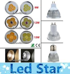 Wholesale Mr16 Led Lamp Socket - Cree Dimmable GU10 LED 9W 12W 15W Bulb Lights E27 E26 E14 MR16 Socket Lamp high power led spotlights Warm Pure Cool white 85-265V 12V