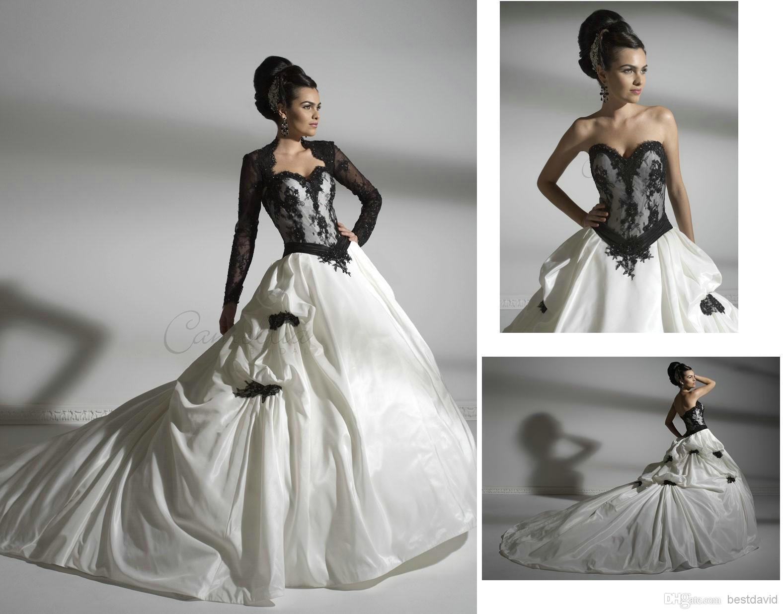Cheap Black N White Wedding Dresses: Discount Black And White Lace Long Sleeves Gothic Wedding