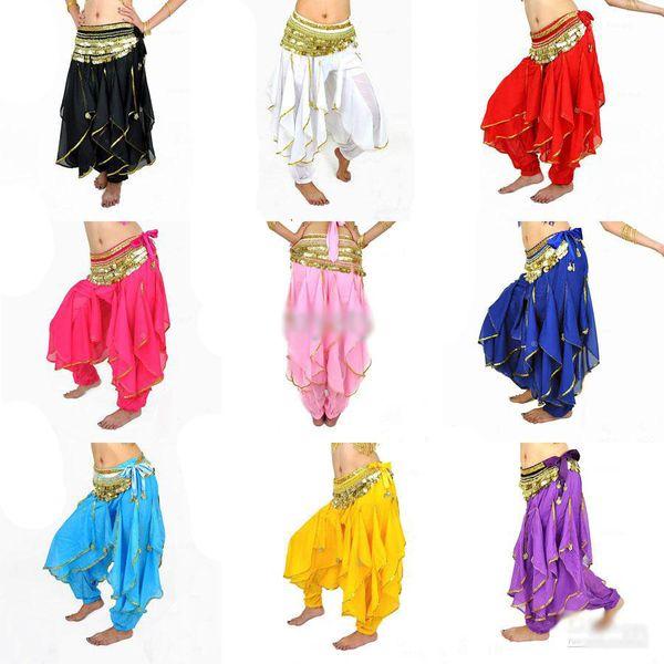 best selling Wholesale - New Belly Dance Tribal Costume Gold Silver Trim Wavy Harem Pants Skirt Elatic Waist