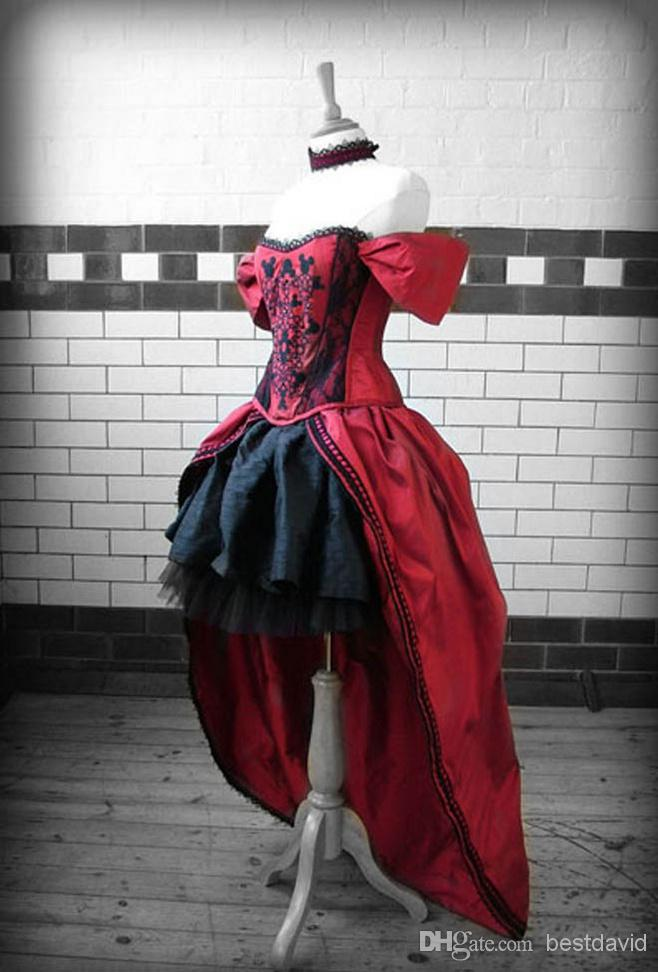 Discount Red And Black High Low Gothic Wedding Dresses 2014 Steampunk Cap Sleeves Sweetheart Taffeta Beaded Embroidery Floor Length Gown Cheap