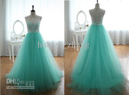 Wholesale Custom Silk Embroidery Tulle - 2014 Mint Green Lace Tulle Prom Dresses with Sheer Crew Neckline And Covered Back Dhyz 01