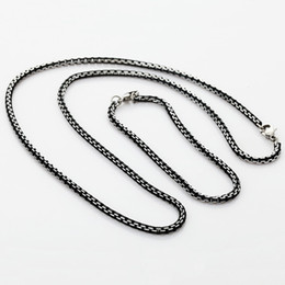 Wholesale Cool Earrings For Men - New 2014 Cool Black Stainless Steel Necklace Bracelet Set For Men Or Women High Quality 3MM Box Link Chain Jewelry Sets S364