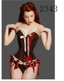 Wholesale Sexy Lingeries Xl - Wholesale - Sexy lingeries Soft bone Satin Lace Up corset Club Wear corset 2343