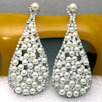 Wholesale Trade Chandeliers - PEARL big drop earrings clear silver white BA-203 8.2*3.2cm Beauty Paradise@ Rihood Trading new arrival supermodel gorgeous rhinestones 2013