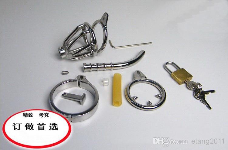 2014 Senaste design super liten manlig kyskhetskonstanordning med rostfritt stålkateter och glidande ring / bur / kuk ring / bdsm sexleksak
